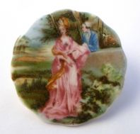 Vintage Coalport Geogian Couple Design Bone China Brooch.